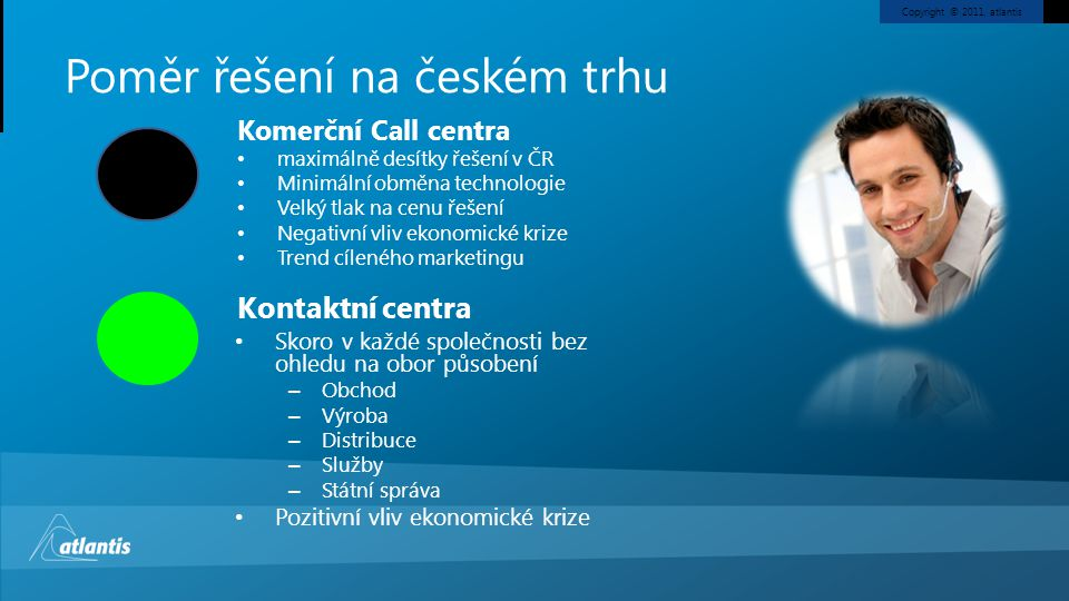Copyright © 2011, atlantis Call centra z pohledu přístupu výrobce Open source řešeníŘešení atlantisVelcí výrobci telekomunikačního HW