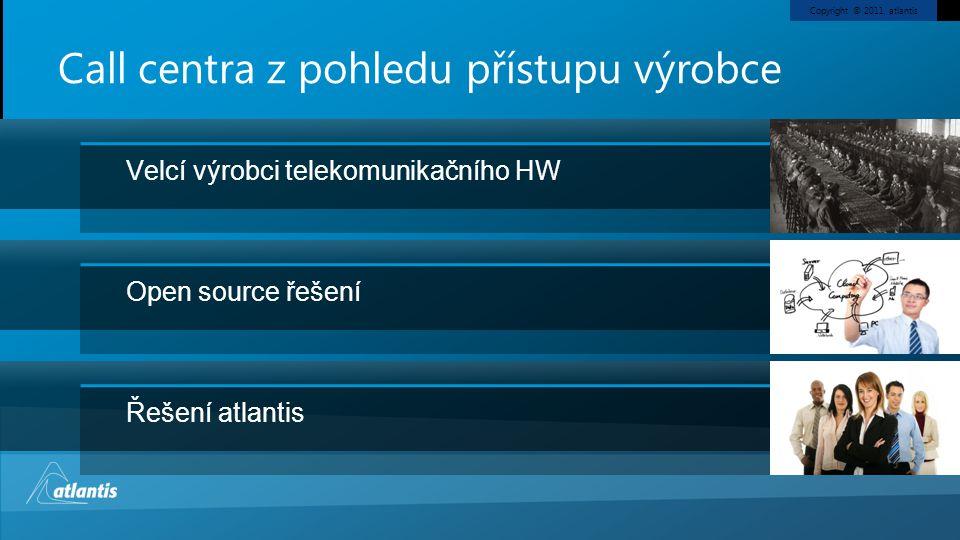 Copyright © 2011, atlantis Aktuální trendy v CC Nové komunikační kanály Video operátoři Integrace do ICT infrastruktury zákazníka Cloudové řešení