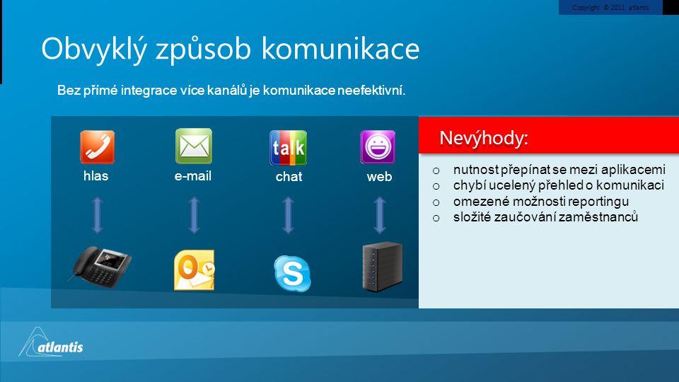 Copyright © 2011, atlantis Obvyklý způsob komunikace Bez přímé integrace více kanálů je komunikace neefektivní.