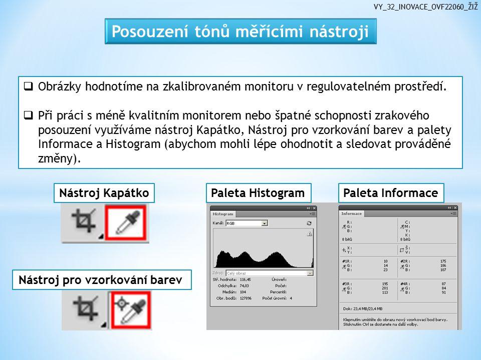 VY_32_INOVACE_OVF22060_ŽIŽ  Obrázky hodnotíme na zkalibrovaném monitoru v regulovatelném prostředí.