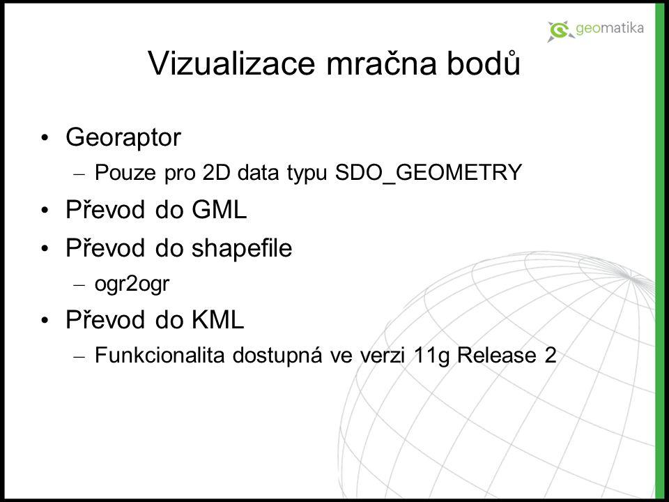 Vizualizace mračna bodů Georaptor – Pouze pro 2D data typu SDO_GEOMETRY Převod do GML Převod do shapefile – ogr2ogr Převod do KML – Funkcionalita dost