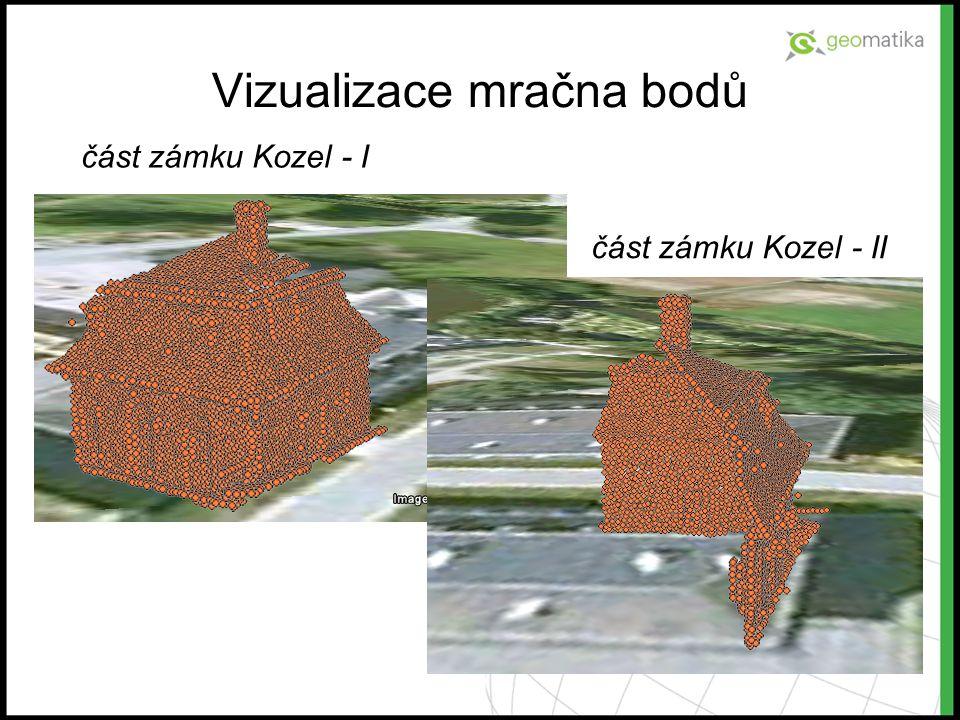 Vizualizace mračna bodů část zámku Kozel - I část zámku Kozel - II
