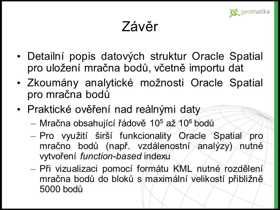 Závěr Detailní popis datových struktur Oracle Spatial pro uložení mračna bodů, včetně importu dat Zkoumány analytické možnosti Oracle Spatial pro mrač