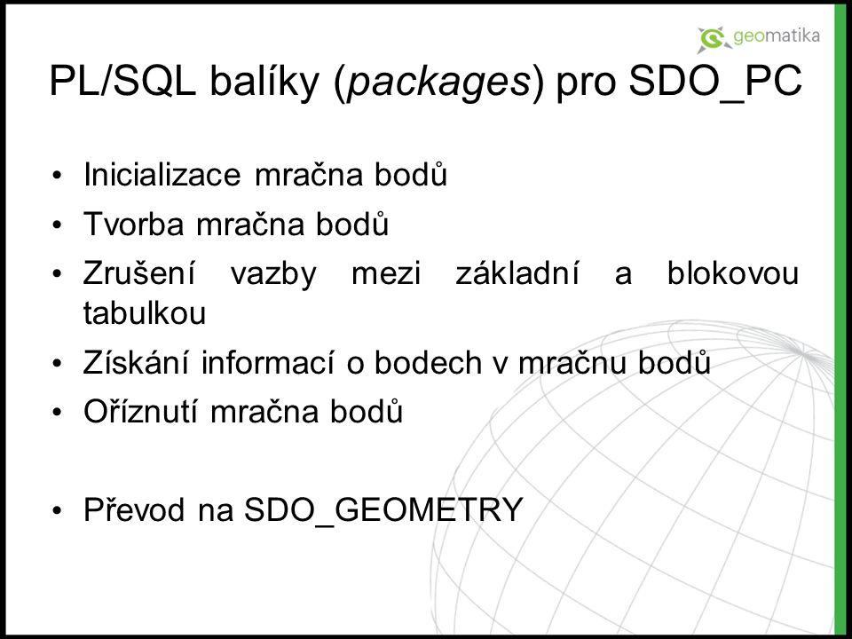 PL/SQL balíky (packages) pro SDO_PC Inicializace mračna bodů Tvorba mračna bodů Zrušení vazby mezi základní a blokovou tabulkou Získání informací o bo