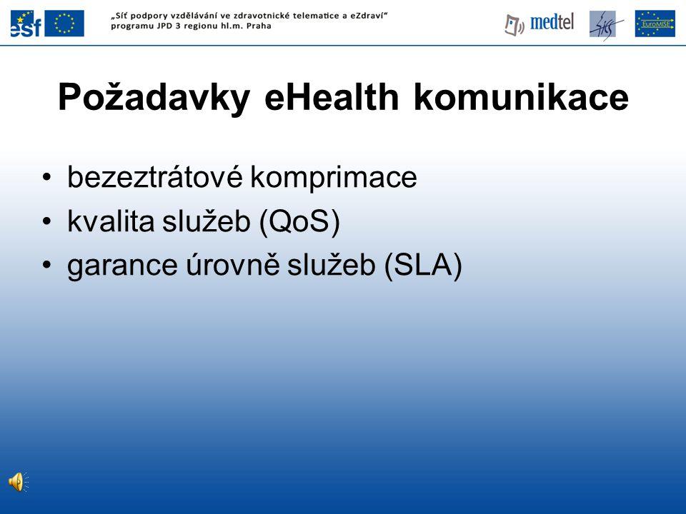 Požadavky eHealth komunikace bezeztrátové komprimace kvalita služeb (QoS) garance úrovně služeb (SLA)