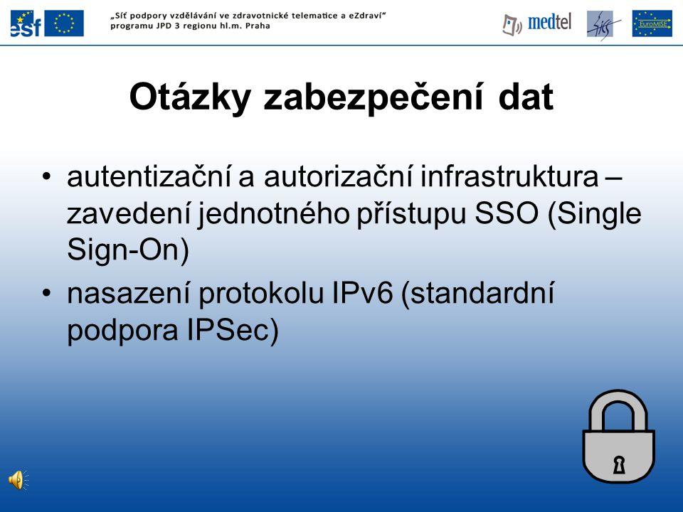 Otázky zabezpečení dat autentizační a autorizační infrastruktura – zavedení jednotného přístupu SSO (Single Sign-On) nasazení protokolu IPv6 (standardní podpora IPSec)