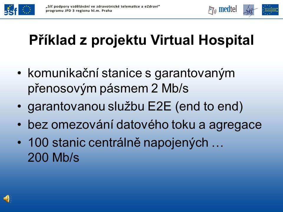 Příklad z projektu Virtual Hospital komunikační stanice s garantovaným přenosovým pásmem 2 Mb/s garantovanou službu E2E (end to end) bez omezování datového toku a agregace 100 stanic centrálně napojených … 200 Mb/s