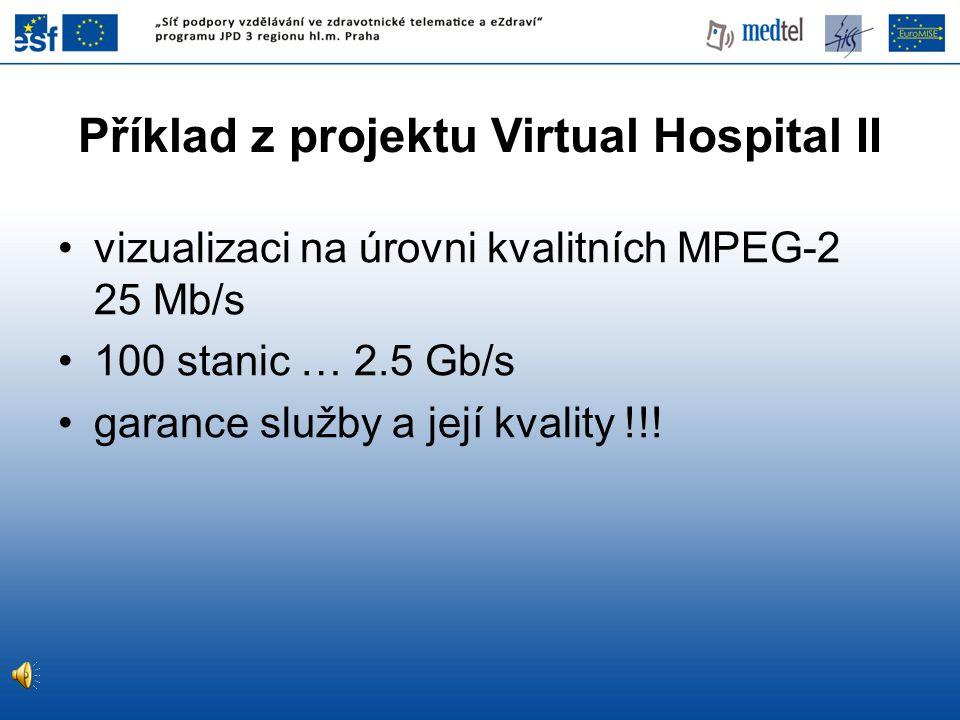 Příklad z projektu Virtual Hospital II vizualizaci na úrovni kvalitních MPEG-2 25 Mb/s 100 stanic … 2.5 Gb/s garance služby a její kvality !!!