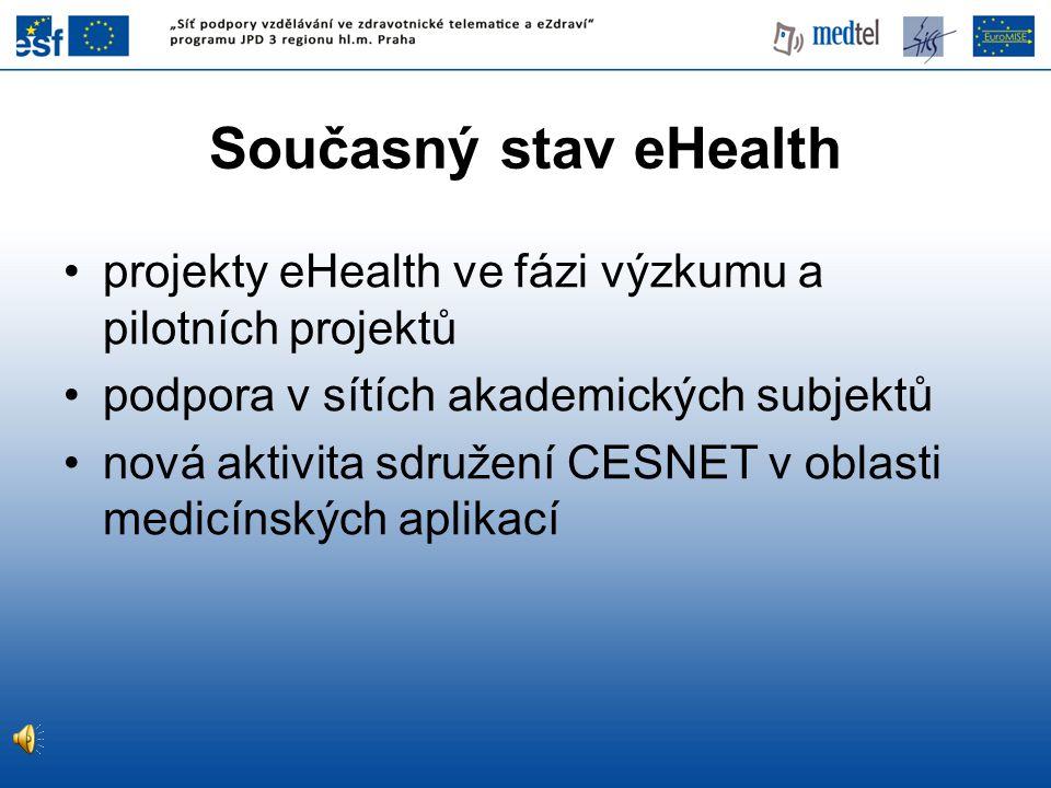 Současný stav eHealth projekty eHealth ve fázi výzkumu a pilotních projektů podpora v sítích akademických subjektů nová aktivita sdružení CESNET v oblasti medicínských aplikací