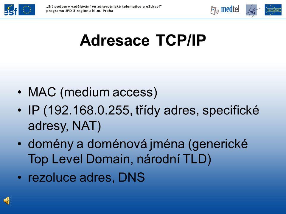 Adresace TCP/IP MAC (medium access) IP (192.168.0.255, třídy adres, specifické adresy, NAT) domény a doménová jména (generické Top Level Domain, národní TLD) rezoluce adres, DNS