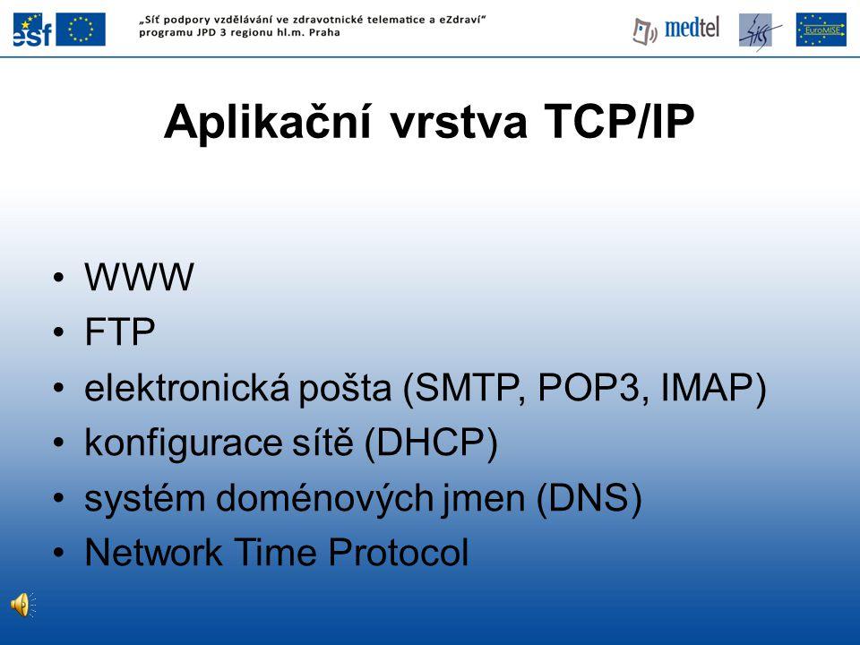 Aplikační vrstva TCP/IP WWW FTP elektronická pošta (SMTP, POP3, IMAP) konfigurace sítě (DHCP) systém doménových jmen (DNS) Network Time Protocol