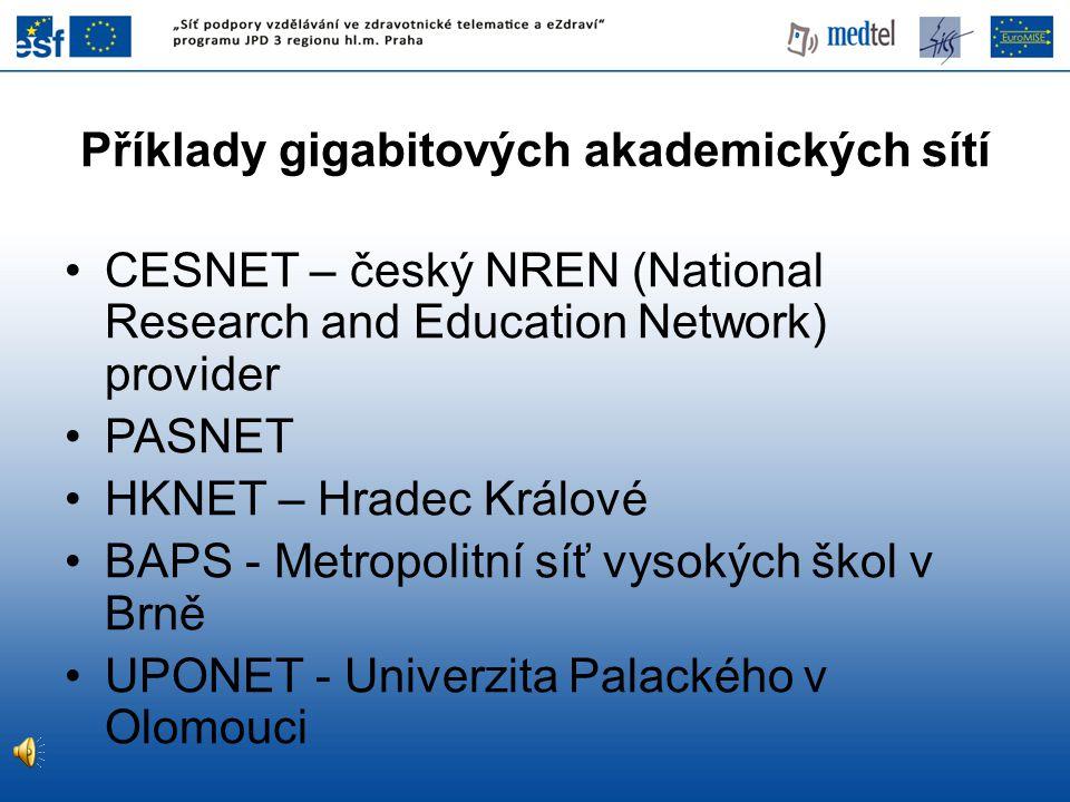 Příklady gigabitových akademických sítí CESNET – český NREN (National Research and Education Network) provider PASNET HKNET – Hradec Králové BAPS - Metropolitní síť vysokých škol v Brně UPONET - Univerzita Palackého v Olomouci