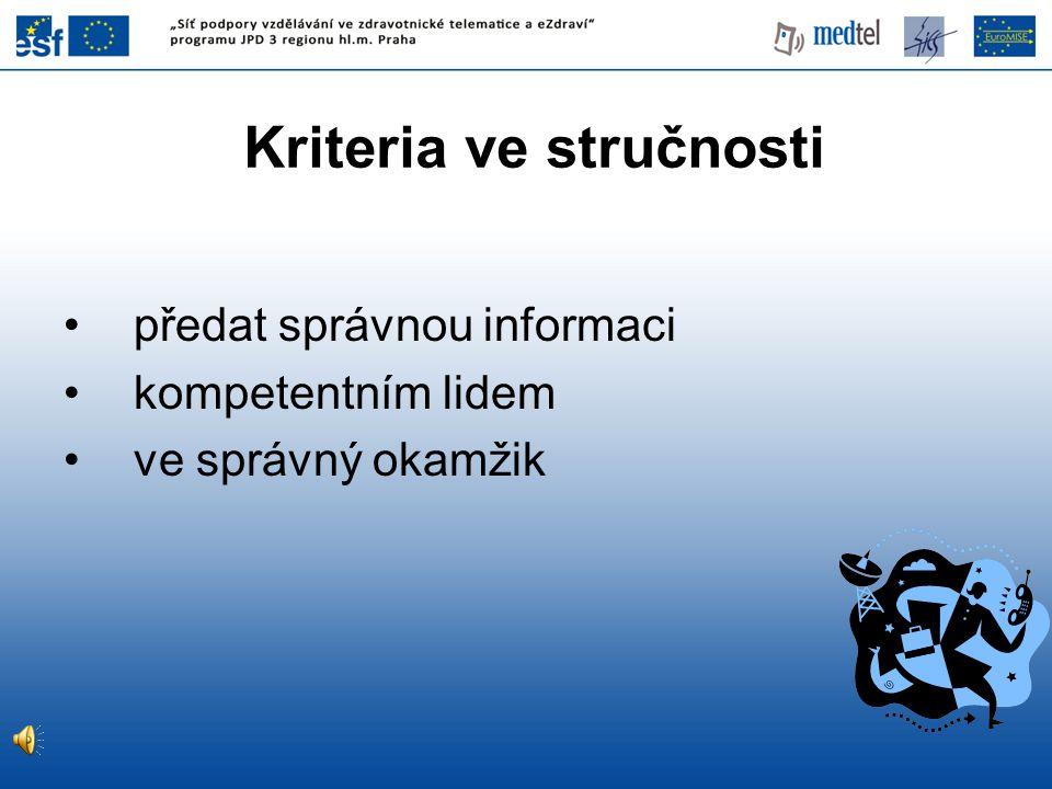 Kriteria ve stručnosti předat správnou informaci kompetentním lidem ve správný okamžik