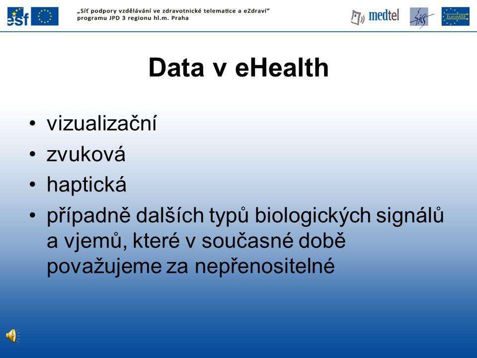 Data v eHealth vizualizační zvuková haptická případně dalších typů biologických signálů a vjemů, které v současné době považujeme za nepřenositelné