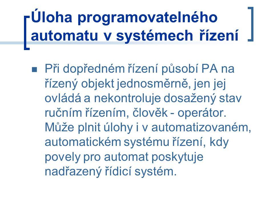 Úloha programovatelného automatu v systémech řízení Při dopředném řízení působí PA na řízený objekt jednosměrně, jen jej ovládá a nekontroluje dosažený stav ručním řízením, člověk - operátor.