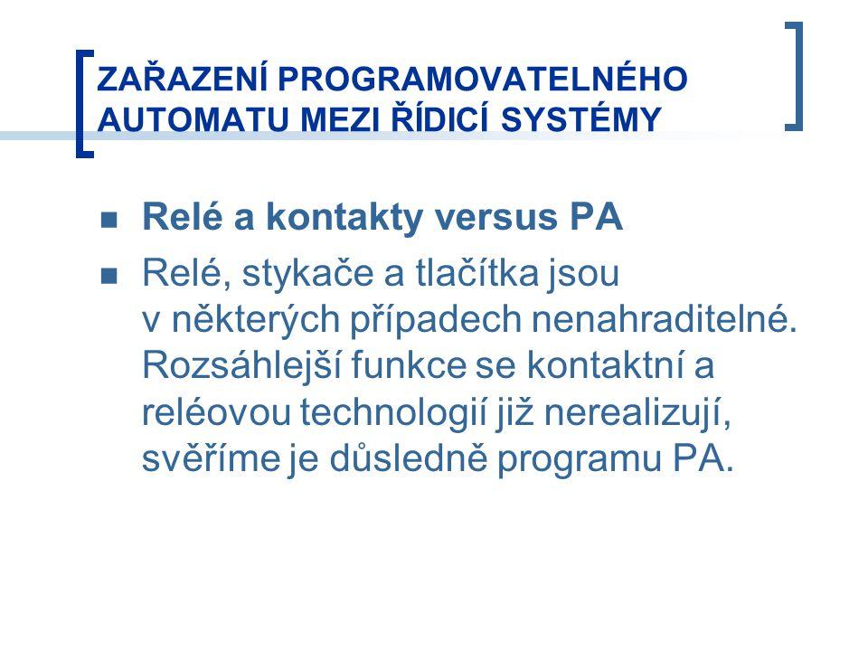 ZAŘAZENÍ PROGRAMOVATELNÉHO AUTOMATU MEZI ŘÍDICÍ SYSTÉMY Relé a kontakty versus PA Relé, stykače a tlačítka jsou v některých případech nenahraditelné.