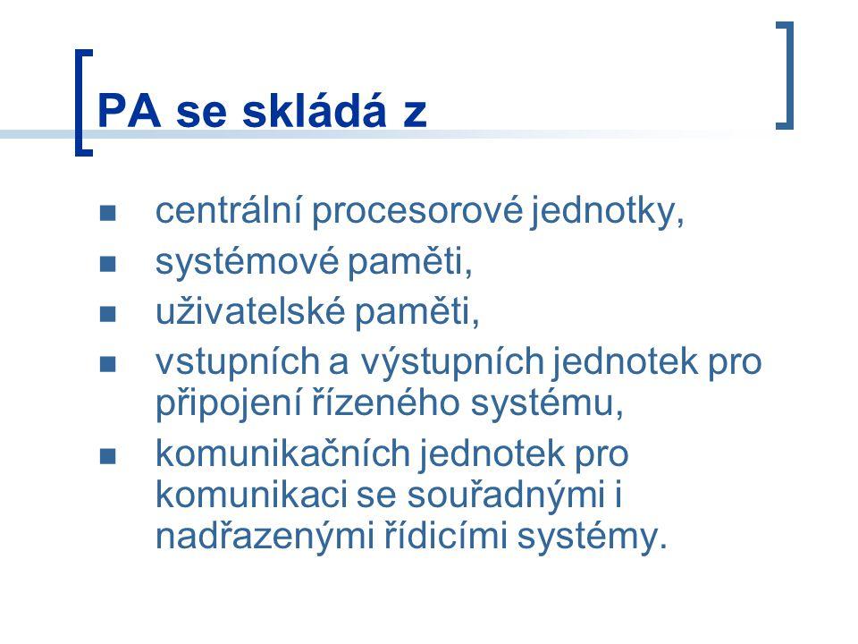 PA se skládá z centrální procesorové jednotky, systémové paměti, uživatelské paměti, vstupních a výstupních jednotek pro připojení řízeného systému, komunikačních jednotek pro komunikaci se souřadnými i nadřazenými řídicími systémy.