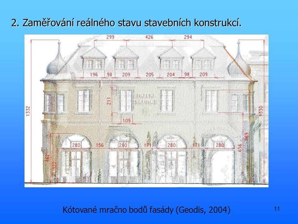 11 2. Zaměřování reálného stavu stavebních konstrukcí. Kótované mračno bodů fasády (Geodis, 2004)