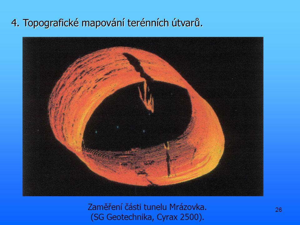 26 Zaměření části tunelu Mrázovka. (SG Geotechnika, Cyrax 2500).
