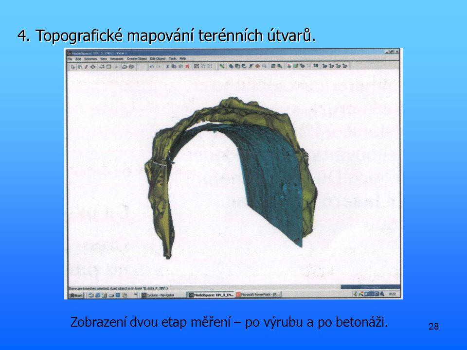 28 Zobrazení dvou etap měření – po výrubu a po betonáži. 4. Topografické mapování terénních útvarů.