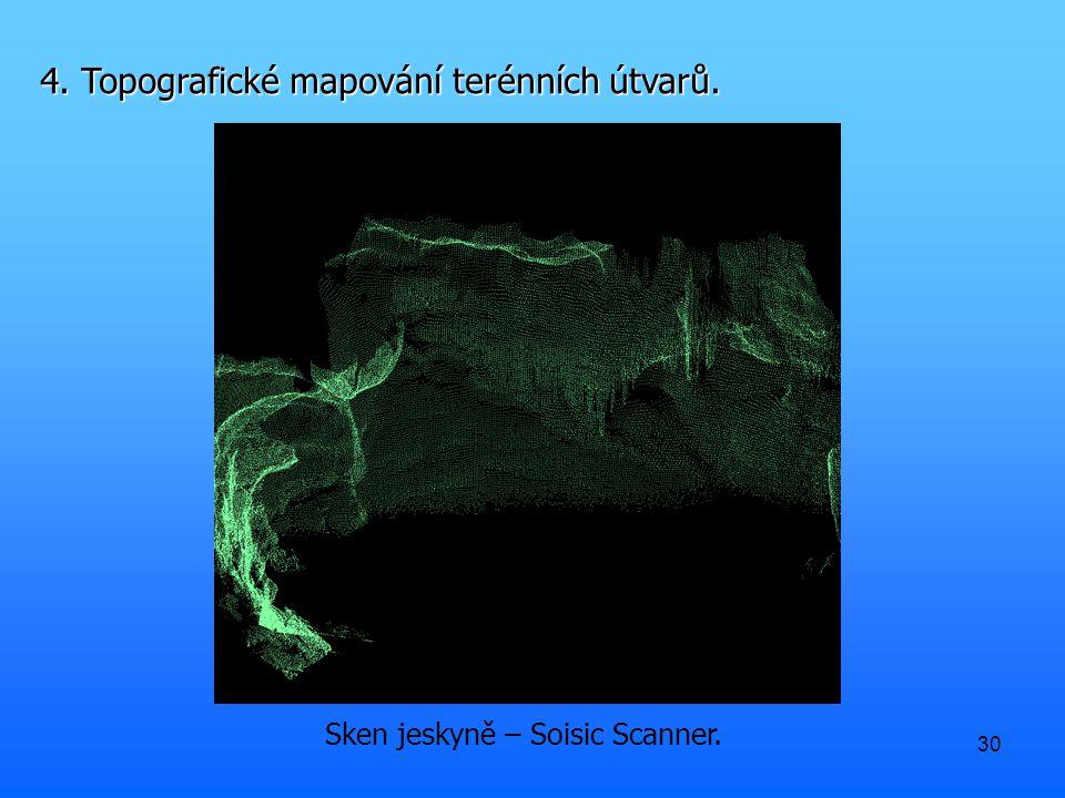 30 Sken jeskyně – Soisic Scanner. 4. Topografické mapování terénních útvarů.
