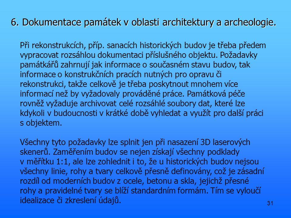 31 6. Dokumentace památek v oblasti architektury a archeologie.