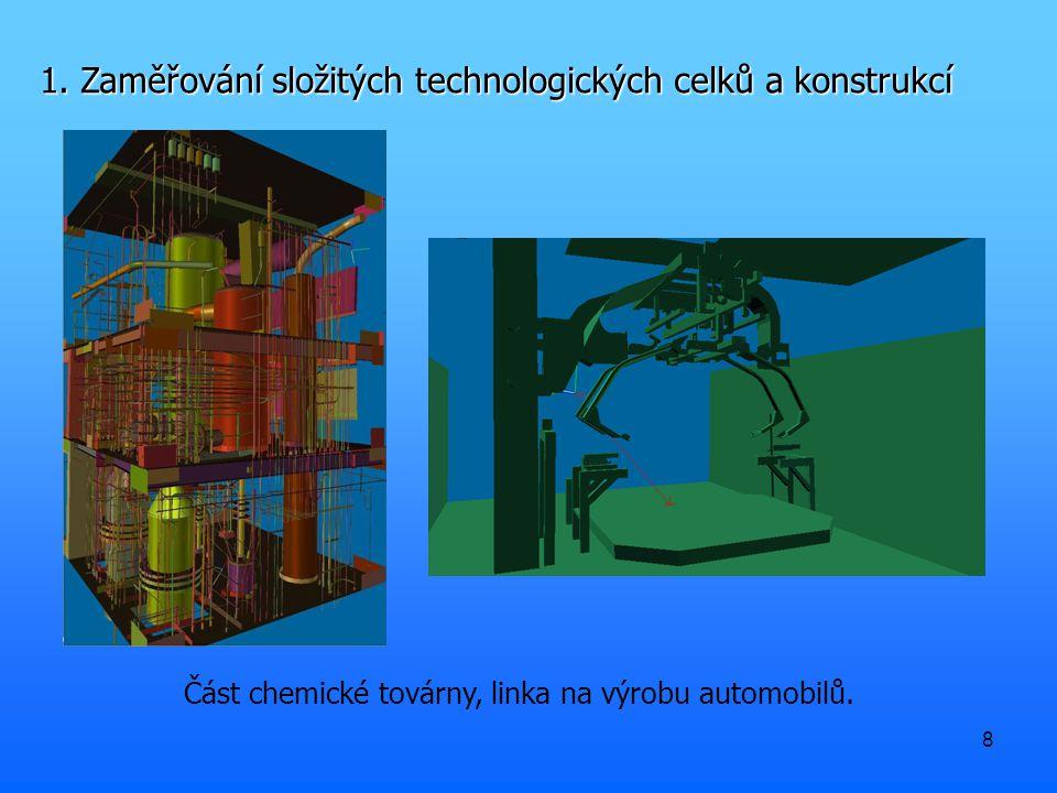 8 1. Zaměřování složitých technologických celků a konstrukcí Část chemické továrny, linka na výrobu automobilů.