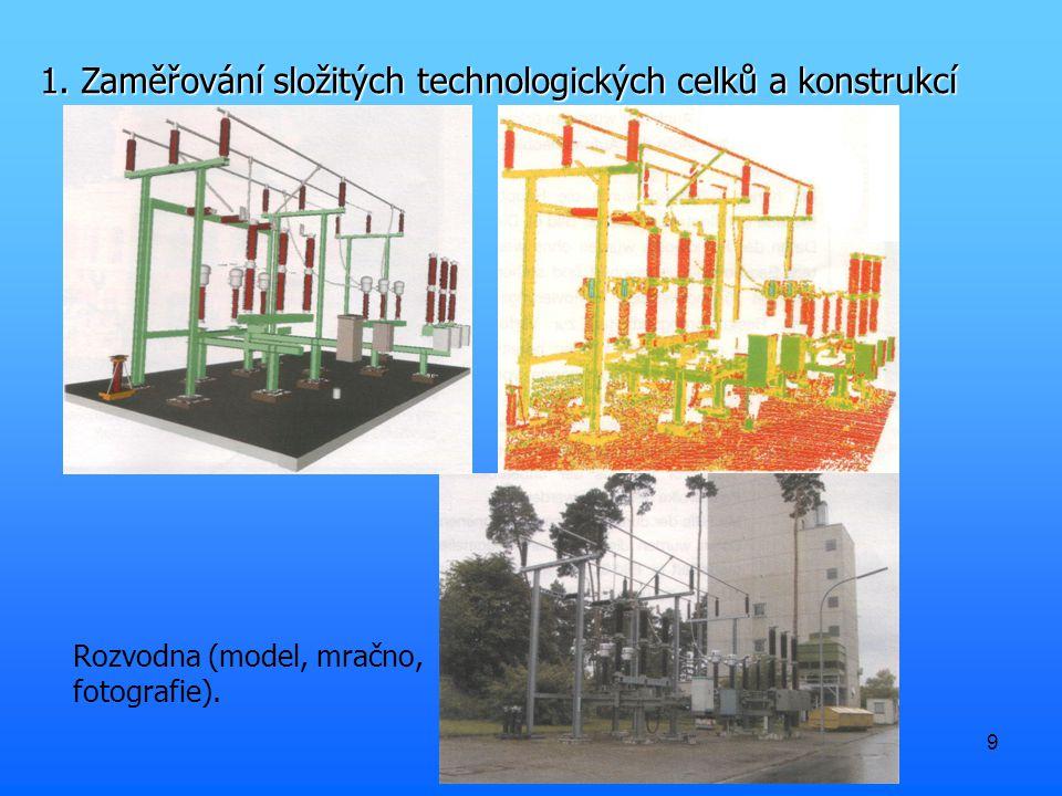 9 Rozvodna (model, mračno, fotografie). 1. Zaměřování složitých technologických celků a konstrukcí