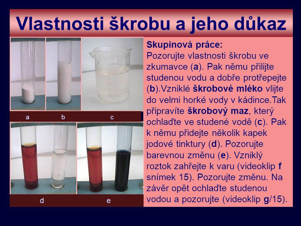 Vlastnosti škrobu a jeho důkaz Skupinová práce: Pozorujte vlastnosti škrobu ve zkumavce (a). Pak němu přilijte studenou vodu a dobře protřepejte (b).V