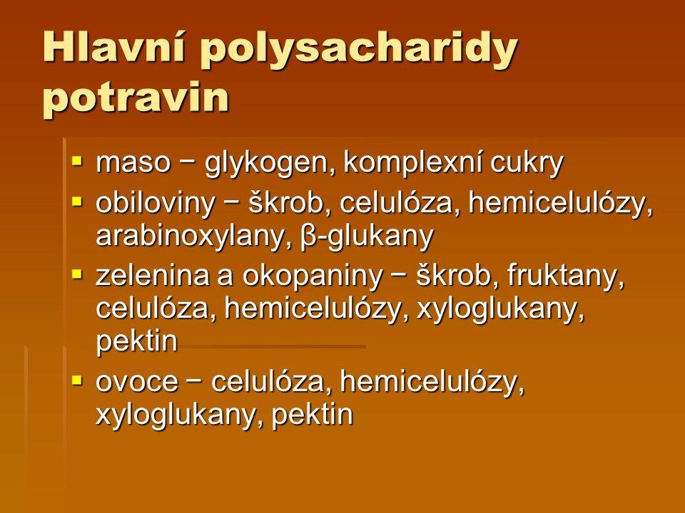 Hlavní polysacharidy potravin  maso − glykogen, komplexní cukry  obiloviny − škrob, celulóza, hemicelulózy, arabinoxylany, β-glukany  zelenina a okopaniny − škrob, fruktany, celulóza, hemicelulózy, xyloglukany, pektin  ovoce − celulóza, hemicelulózy, xyloglukany, pektin