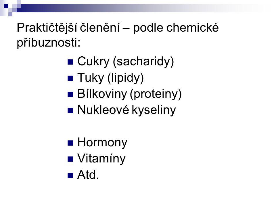 Praktičtější členění – podle chemické příbuznosti: Cukry (sacharidy) Tuky (lipidy) Bílkoviny (proteiny) Nukleové kyseliny Hormony Vitamíny Atd.
