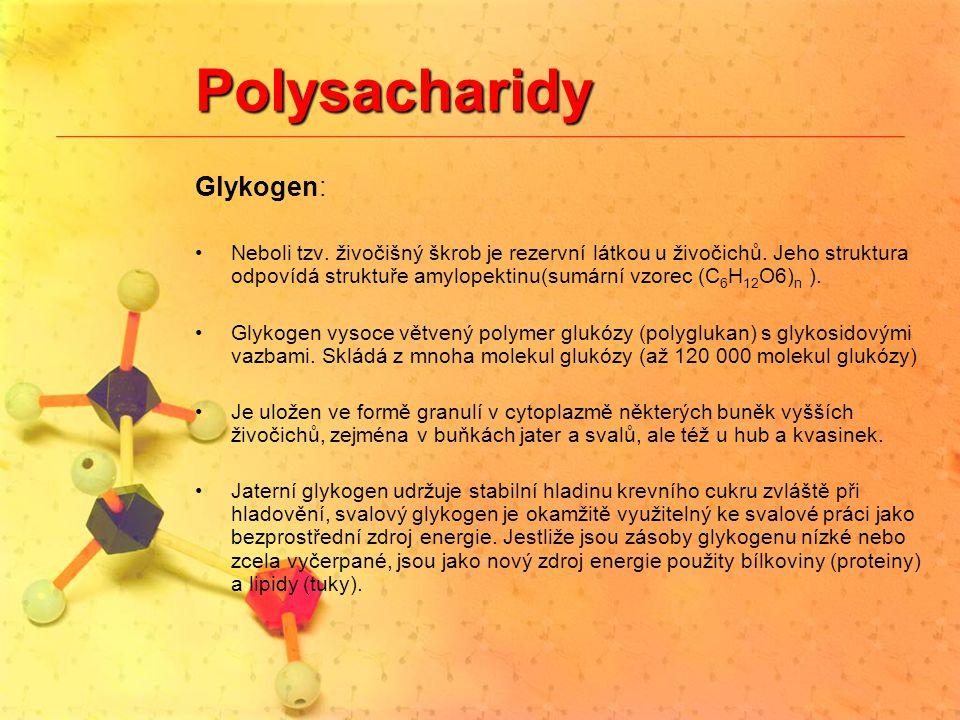 Polysacharidy Glykogen: Neboli tzv. živočišný škrob je rezervní látkou u živočichů. Jeho struktura odpovídá struktuře amylopektinu(sumární vzorec (C 6