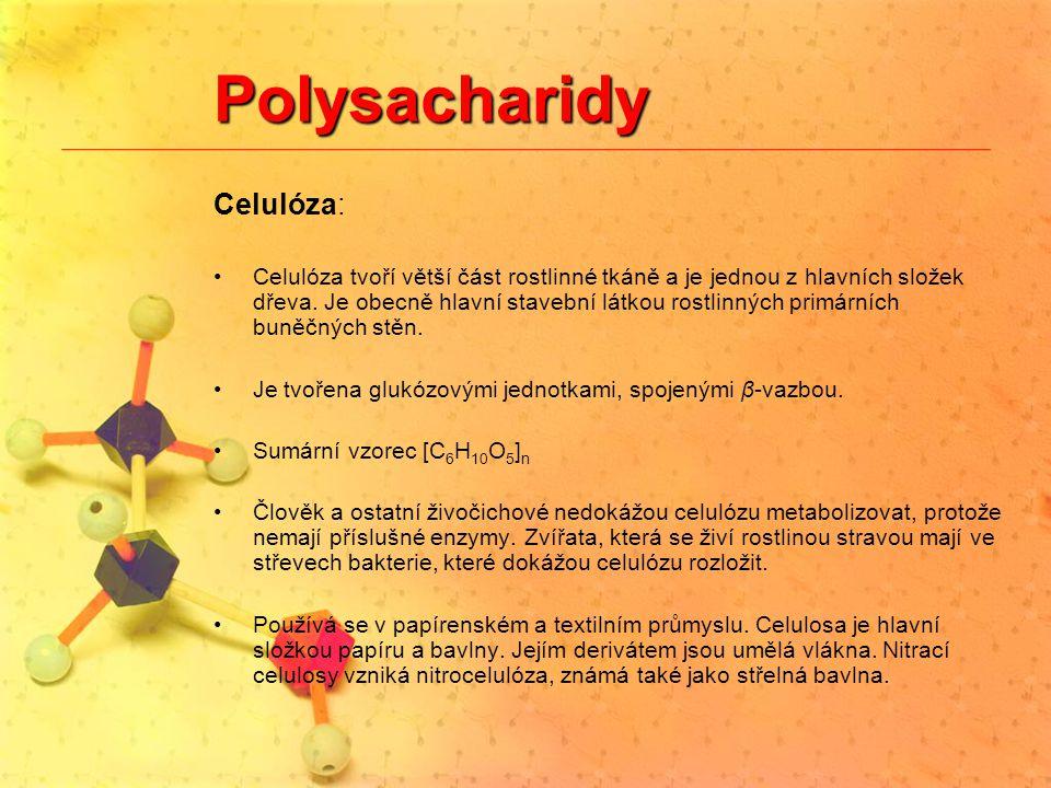 Polysacharidy Celulóza: Celulóza tvoří větší část rostlinné tkáně a je jednou z hlavních složek dřeva. Je obecně hlavní stavební látkou rostlinných pr