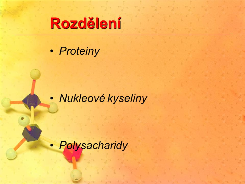 Rozdělení Proteiny Nukleové kyseliny Polysacharidy