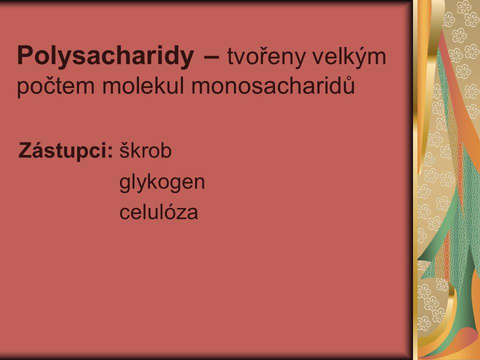 Polysacharidy – tvořeny velkým počtem molekul monosacharidů Zástupci: škrob glykogen celulóza