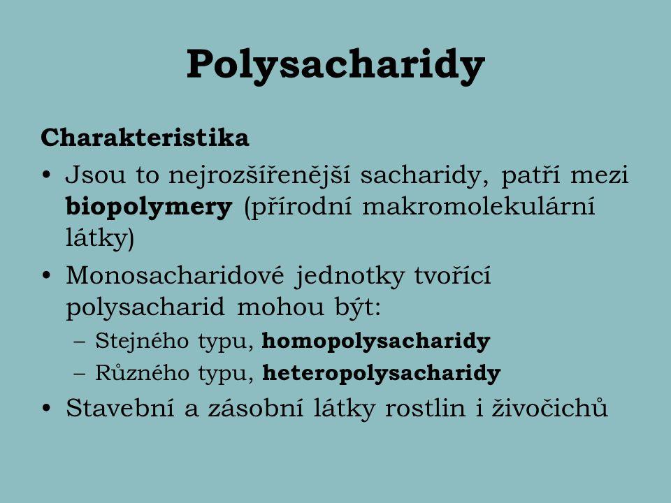 Polysacharidy Charakteristika Jsou to nejrozšířenější sacharidy, patří mezi biopolymery (přírodní makromolekulární látky) Monosacharidové jednotky tvo