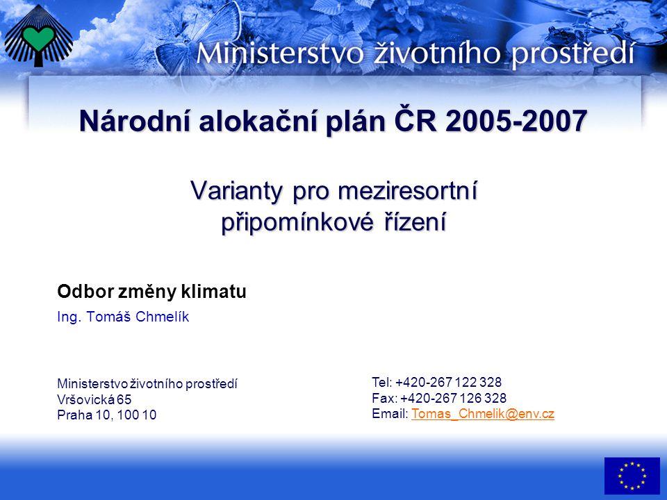 Národní alokační plán ČR 2005-2007 Varianty pro meziresortní připomínkové řízení Odbor změny klimatu Ing.