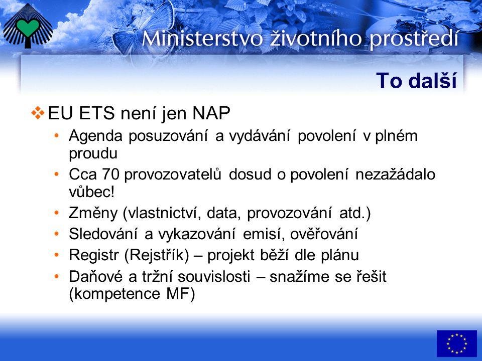 To další  EU ETS není jen NAP Agenda posuzování a vydávání povolení v plném proudu Cca 70 provozovatelů dosud o povolení nezažádalo vůbec! Změny (vla