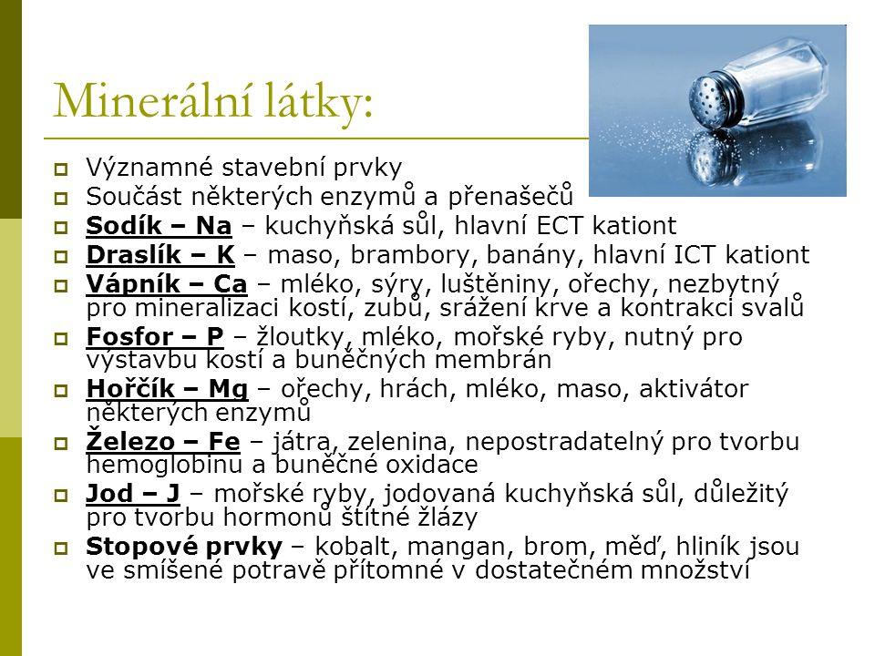Minerální látky:  Významné stavební prvky  Součást některých enzymů a přenašečů  Sodík – Na – kuchyňská sůl, hlavní ECT kationt  Draslík – K – mas