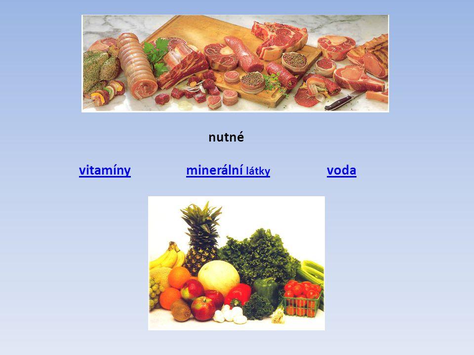 """Vitamíny rozpustné ve vodě VitamínZdrojeVýznamNedostatek B1 Tiamin Pivovarské kvasnice, ovesné vločky, luštěniny, vepřové maso, srdce, slezina K přeměně glycidů, činnost nervstva a kosterního svalstva Nervová choroba """"beri-beri , změny nálady B2 Riboflavin Maso, vejce, droždí, luštěniny, zelenina Nutný pro růst a obnovu buněkZměny na ústech, jazyce, trhliny v koutcích úst, kožní změny B6 Pyridoxin Vnitřnosti, vepřové maso, ryby, droždí, luštěniny, klíčky, ořechy, zelenina Uplatňuje se při látkovém metabolismu Kožní choroby, nervové poruchy B12 Kobalamin Pouze v živočišných zdrojích – játra Důležitý pro tvorbu krve, pro buňky, kostní dřeň, CNS a trávicí soustavu Zhoubná anémie – chudokrevnost C Kyselina askorbová Ničí se varem."""