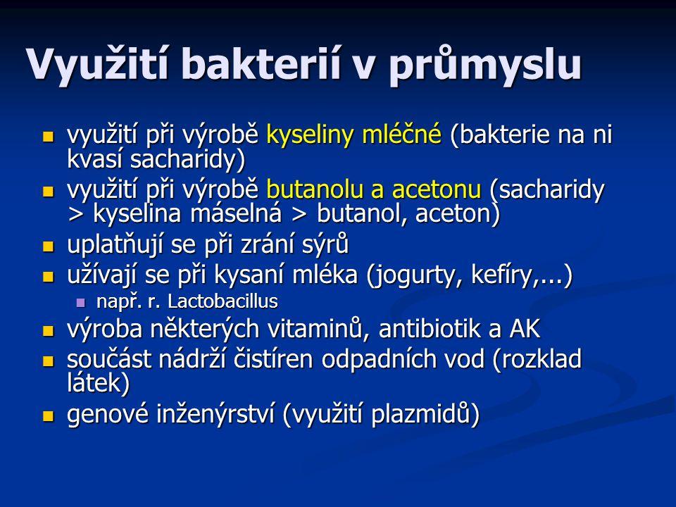 Využití bakterií v průmyslu využití při výrobě kyseliny mléčné (bakterie na ni kvasí sacharidy) využití při výrobě kyseliny mléčné (bakterie na ni kvasí sacharidy) využití při výrobě butanolu a acetonu (sacharidy > kyselina máselná > butanol, aceton) využití při výrobě butanolu a acetonu (sacharidy > kyselina máselná > butanol, aceton) uplatňují se při zrání sýrů uplatňují se při zrání sýrů užívají se při kysaní mléka (jogurty, kefíry,...) užívají se při kysaní mléka (jogurty, kefíry,...) např.