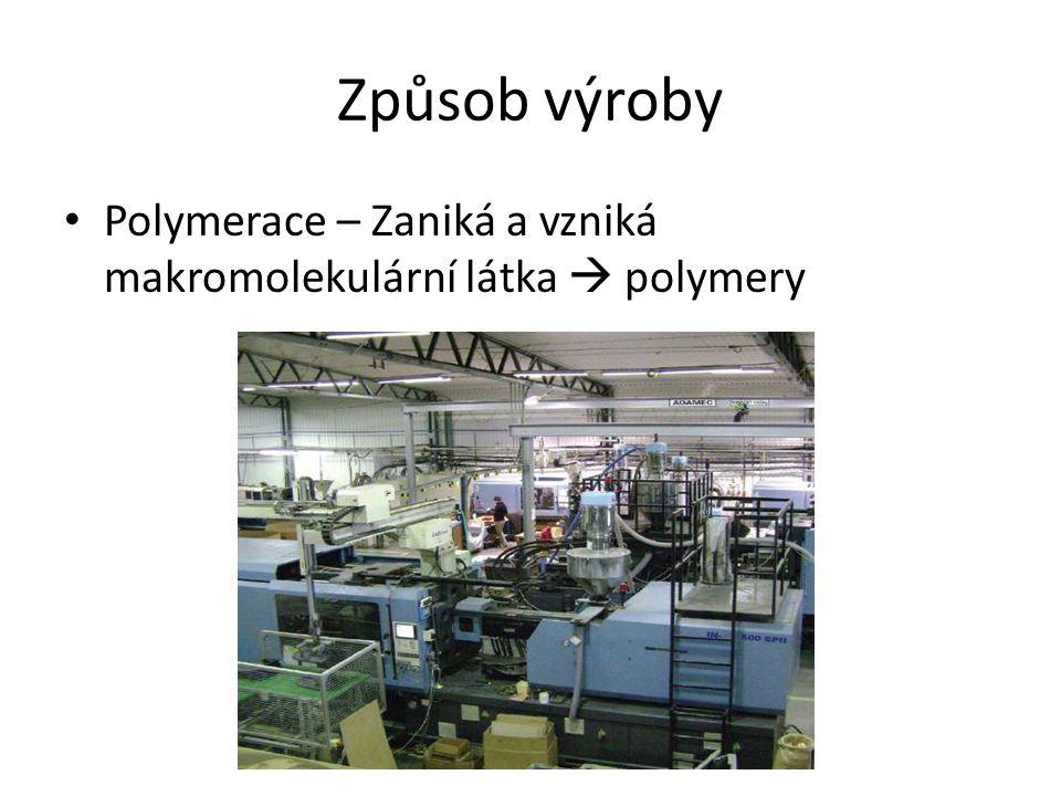 Způsob výroby Polymerace – Zaniká a vzniká makromolekulární látka  polymery