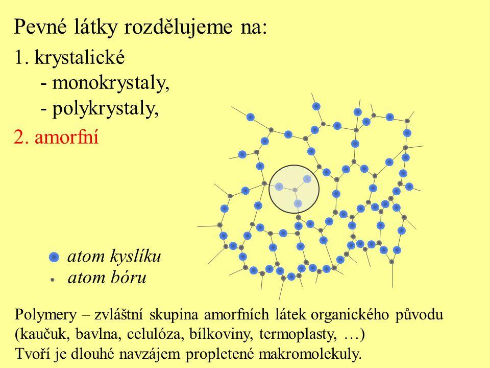 Polymery – zvláštní skupina amorfních látek organického původu (kaučuk, bavlna, celulóza, bílkoviny, termoplasty, …) Tvoří je dlouhé navzájem propletené makromolekuly.