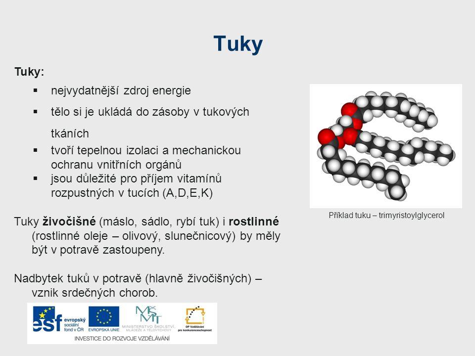 Tuky Tuky:  nejvydatnější zdroj energie  tělo si je ukládá do zásoby v tukových tkáních  tvoří tepelnou izolaci a mechanickou ochranu vnitřních org
