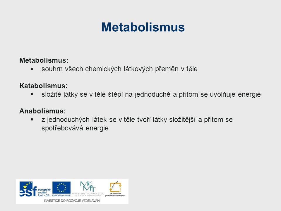 Metabolismus Energie uvolněná rozkladem organických látek uvnitř těla se přeměňuje v: a) teplo b) chemickou energii c) mechanickou energii (sloužící k pohybu) Člověk přežije bez přísunu kyslíku nejdéle 5 minut (jsou výjimky), bez vody nejdéle 5 dnů, bez jídla až 5 týdnů.