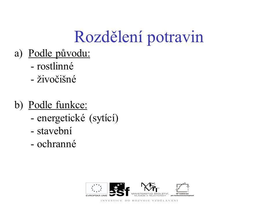 a)Podle původu: - rostlinné - živočišné b)Podle funkce: - energetické (sytící) - stavební - ochranné Rozdělení potravin