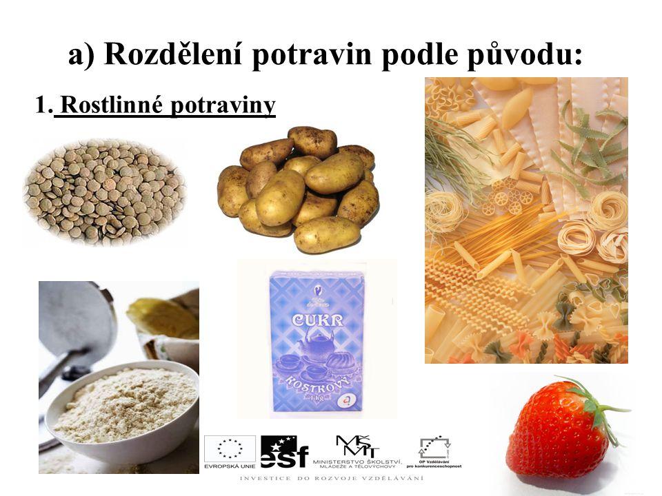 1. Rostlinné potraviny a) Rozdělení potravin podle původu:
