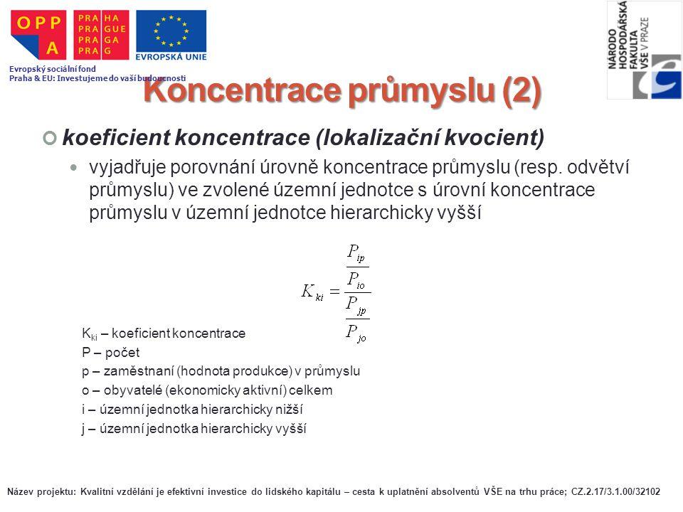 Koncentrace průmyslu (2) koeficient koncentrace (lokalizační kvocient) vyjadřuje porovnání úrovně koncentrace průmyslu (resp. odvětví průmyslu) ve zvo