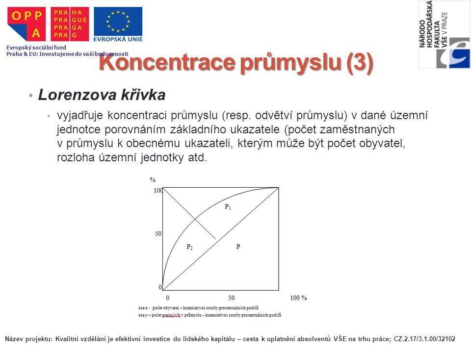 Koncentrace průmyslu (3) Lorenzova křivka vyjadřuje koncentraci průmyslu (resp. odvětví průmyslu) v dané územní jednotce porovnáním základního ukazate