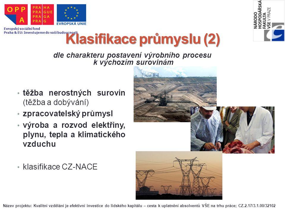 Klasifikace průmyslu (2) těžba nerostných surovin (těžba a dobývání) zpracovatelský průmysl výroba a rozvod elektřiny, plynu, tepla a klimatického vzd